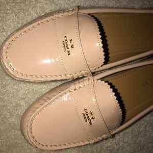 Nude patent COACH loafers
